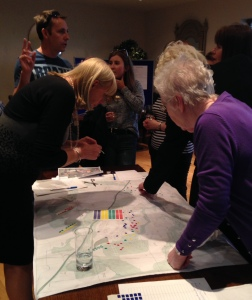 Viewing the map and discussing what facilities residents would like to see in Wynyard and where